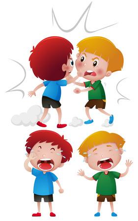 二人の少年の戦いの図を叫ぶ  イラスト・ベクター素材