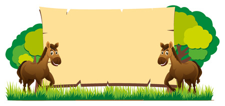 Board template with two horses illustration Çizim