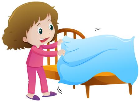 어린 소녀 그림을 만드는 침대