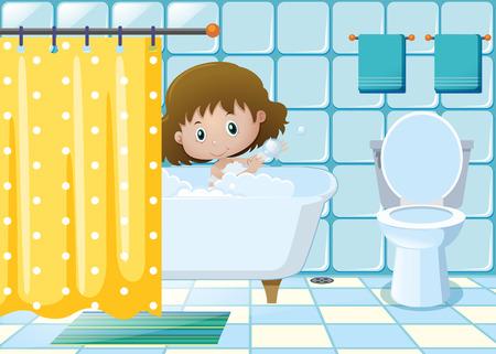 bathtime: Girl taking bath in bathroom illustration
