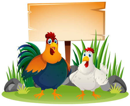 Wooden sign and two chickens illustration