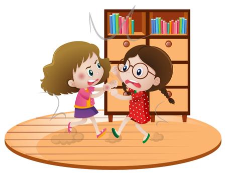 部屋の図で戦う二人の女の子