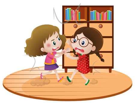 Two girls fighting in room illustration Ilustração