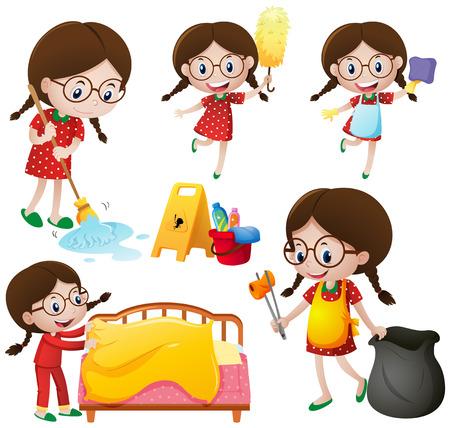 Girl doing different chores illustration