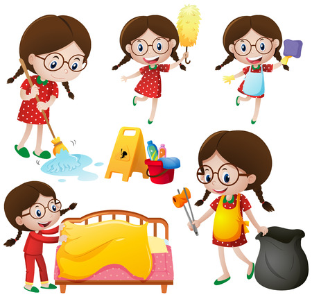 Girl doing different chores illustration