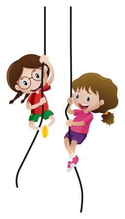 Deux filles escalade corde illustration Banque d'images - 80309929