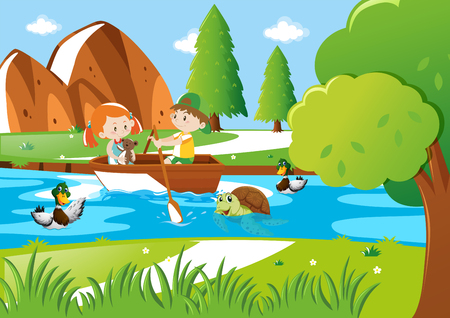 Boy and girl rowing bow in river illustration