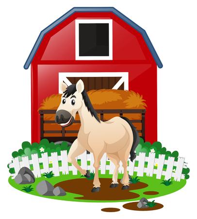 흰 말 농장 그림에서 일러스트