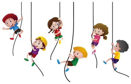 Many kids climbing up the rope illustration  イラスト・ベクター素材