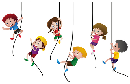 Many kids climbing up the rope illustration Stock Illustratie