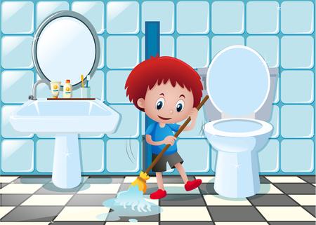 Kleine jongen schoonmaak badkamer vloer illustratie