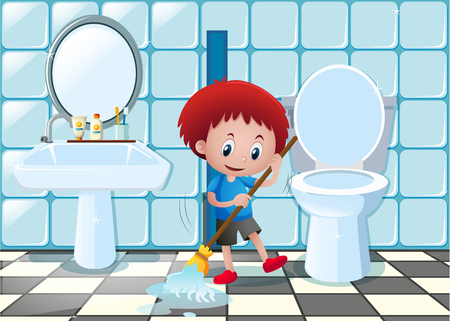 Little boy cleaning bathroom floor illustration
