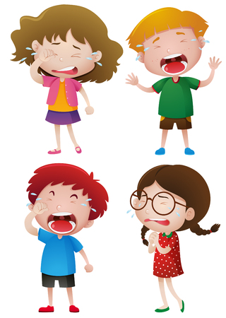 Four kids crying with tears illustration Illustration