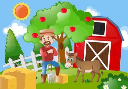 Farmer and donkey on the farmyard illustration