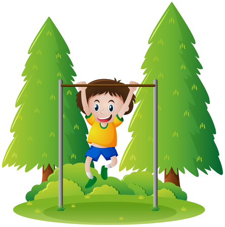 Little boy playing on bar in the park illustration