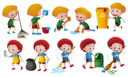 Boys doing different chores illustration Illustration