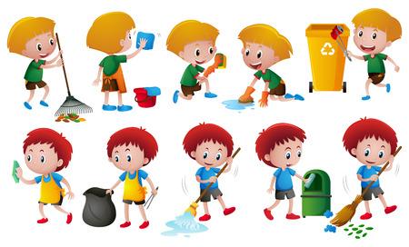 Boys doing different chores illustration Illustration