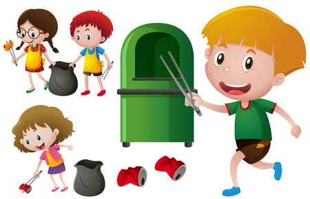 Children picking up aluminum cans  illustration