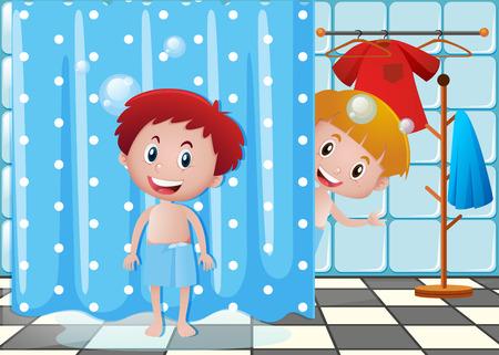 Zwei Jungen in der Badezimmerillustration Standard-Bild - 80241783