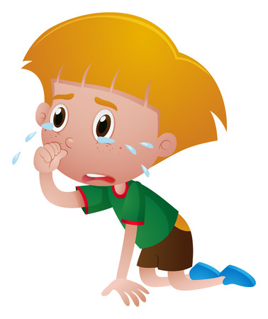 Little boy crying with tears illustration Illustration