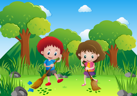 Two kids sweeping leaves in the park illustration Иллюстрация