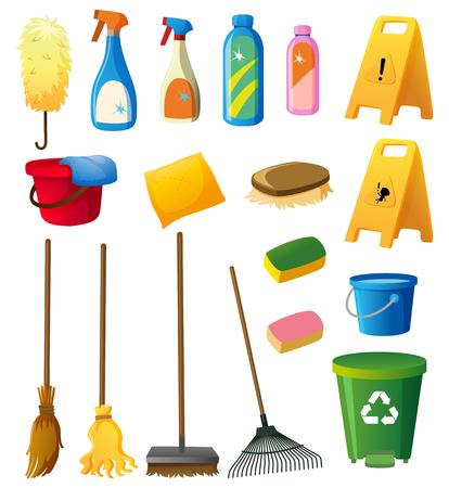 Cleaning equipments on white background illustration Illustration
