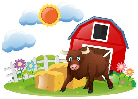 Bull standing in the farmyard illustration