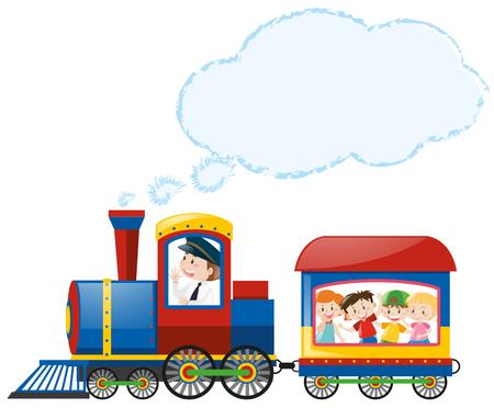 Kinderen rijden op trein illustratie