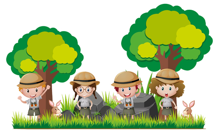Four kids in safari outfit hiking in woods illustration