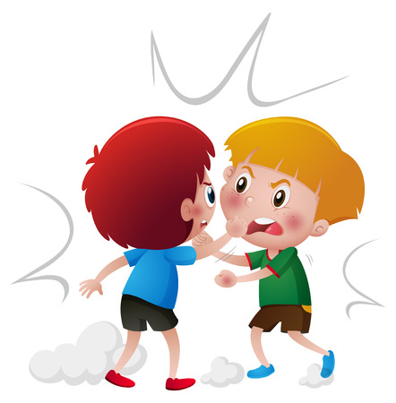 Angry boys fighting each other illustration