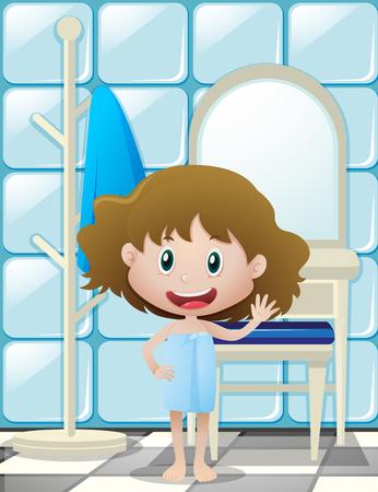 Meisje in badhanddoek golvende hand illustratie Stockfoto - 80310034
