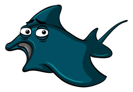 Blue stingray on white background illustration