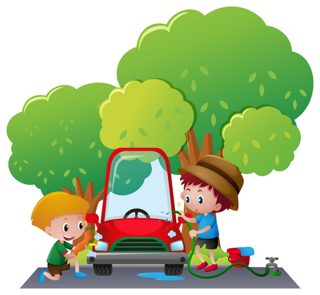 Two boys washing car in the park illustration