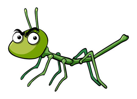 Stick insect with angry face illustration