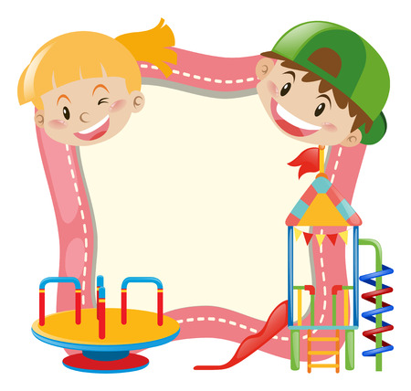 Background template with kids and playground illustration
