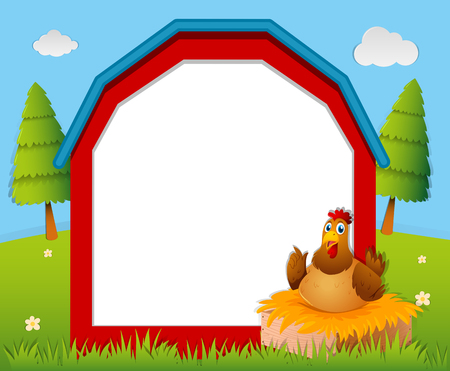 Frame template with chicken in the nest illustration