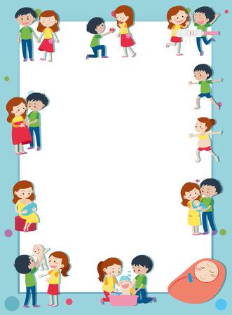 親の図であることの愛のカップルと枠線テンプレート