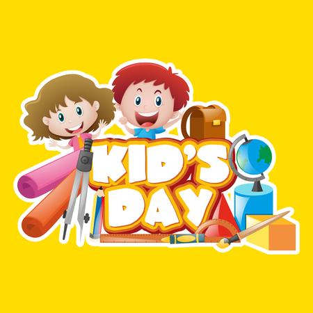 niño parado: Diseño de cartel con la ilustración del día del niño Vectores