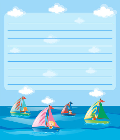Paper template with kids sailing illustration