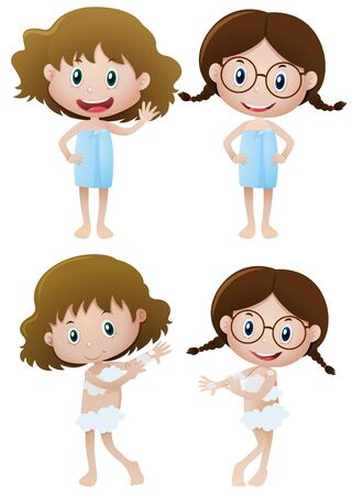 Two girls in towels and two girls taking shower illustration