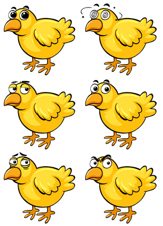 Little chicks with different emotions illustration