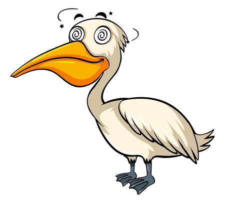 Dizzy pelican on white background illustration