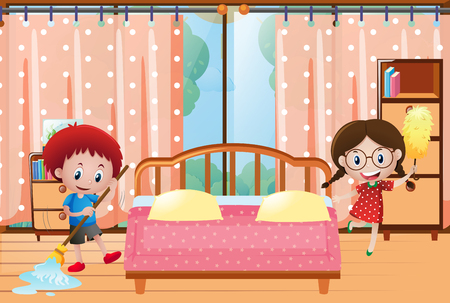 Two kids cleaning the bedroom illustration Illustration
