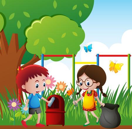 Two kids picking up trash in the park illustration