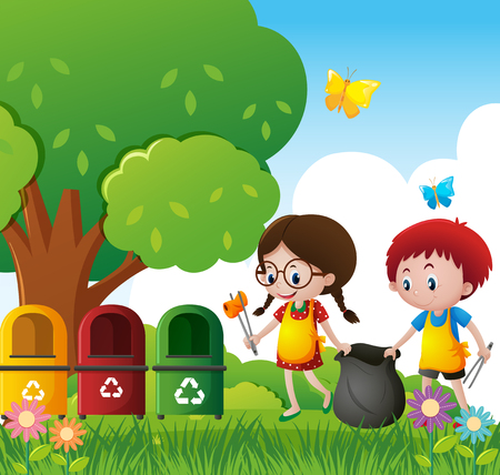 Boy and girl cleaning the park illustration
