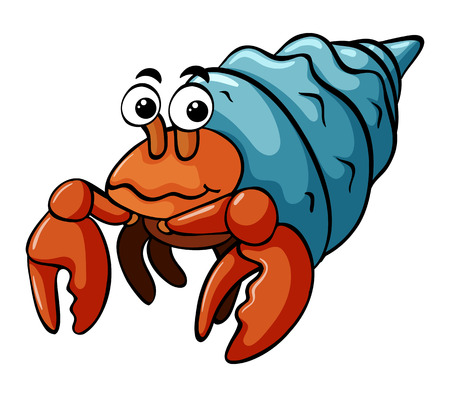 Hermit crab with happy face illustration Illustration