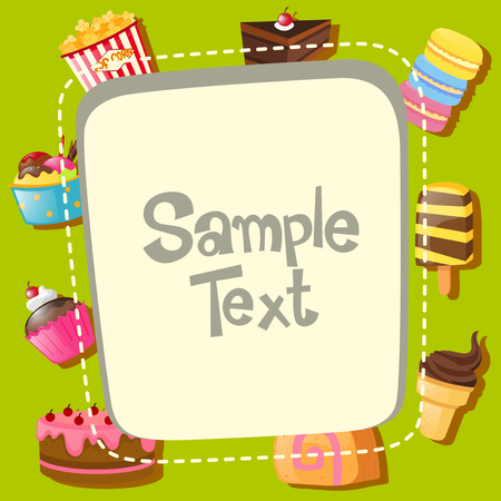 popsicle: Frame template with different types of desserts illustration