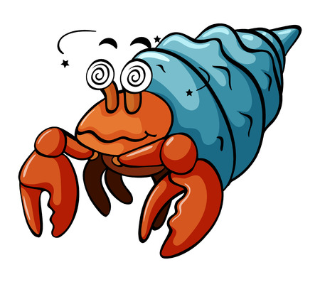 Hermit crab with dizzy face illustration