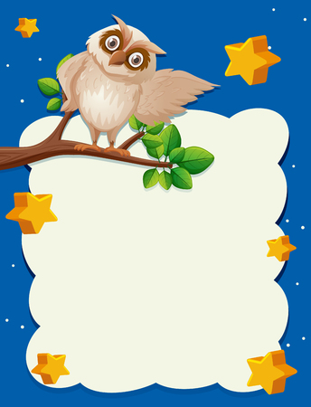 Border template with owl on branch in background illustration