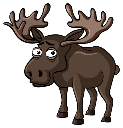 Moose with sad smile illustration